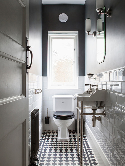Example Of A Small Clic Black And White Tile Porcelain Floor Multicolored