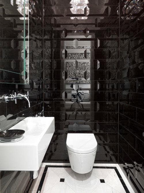 Photos et idées déco de WC et toilettes avec un carrelage noir et ...