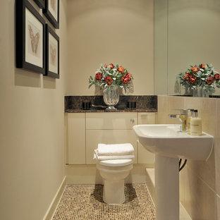 Foto de aseo tradicional renovado, pequeño, con armarios con rebordes decorativos, sanitario de una pieza y lavabo con pedestal