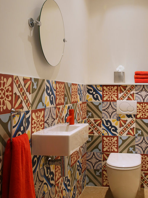 Half tiled wall houzz - Idee deco wc suspendu ...