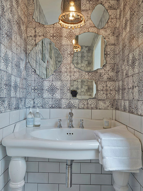 75 Cloakroom With Metro Tiles Design Ideas Stylish
