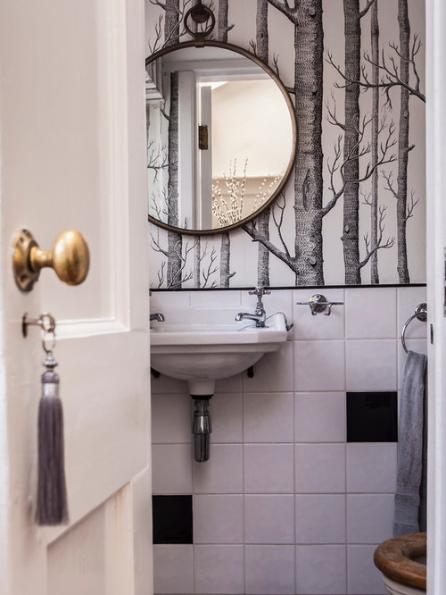 Inspiration For A Small Traditional Cloakroom In Hampshire With Black And White Tiles Ceramic
