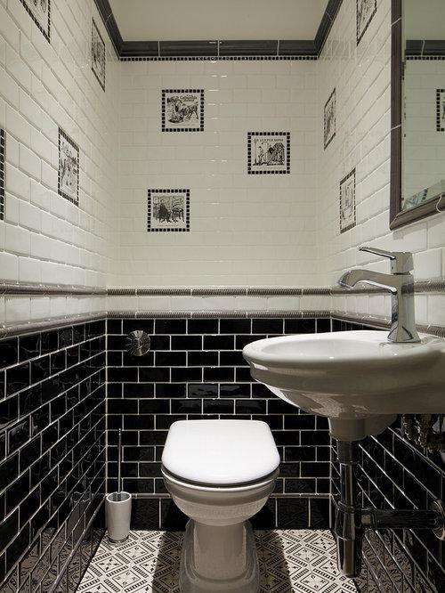 Best Beige Powder Room With Subway Tile Design Ideas