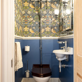 Design Ideas For A Small Bohemian Cloakroom In Gloucestershire With A  Two Piece Toilet,