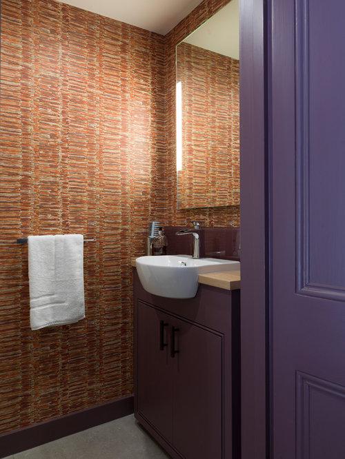 Photos et idées déco de WC et toilettes avec un lavabo posé et des ...