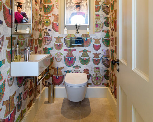 Design Ideas For A Medium Sized Contemporary And Modern Cloakroom In London  With A Wall Mounted