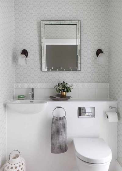 Transitional Powder Room by amorybrown.co.uk