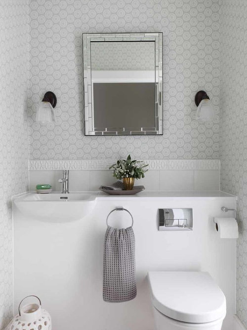 Small Transitional Powder Room Photo In London With A Wall Mount Sink, Gray  Walls Part 84