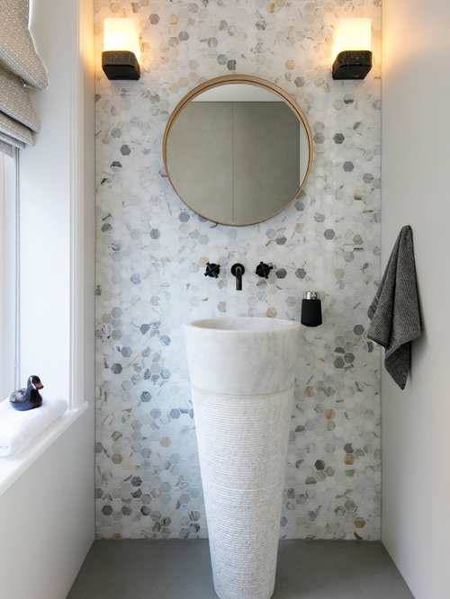 Cloakroom design ideas renovations amp photos with a pedestal sink