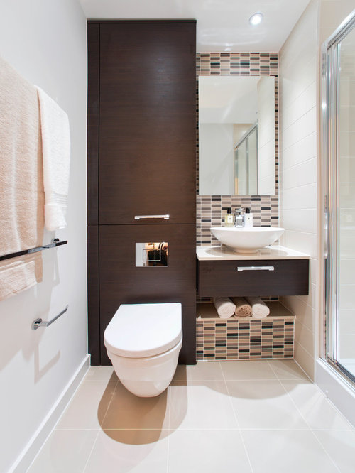 example of a trendy beige tile and matchstick tile powder room design in london with a - Matchstick Tile Bedroom Decor
