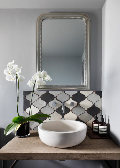 Mediterranean Powder Room by Amelia Pearson Interiors