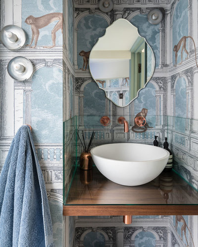 Contemporary Powder Room by Cat Dal Interiors