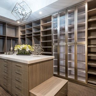 Foto di un grande spazio per vestirsi unisex design con ante lisce, ante in legno scuro, moquette e pavimento marrone