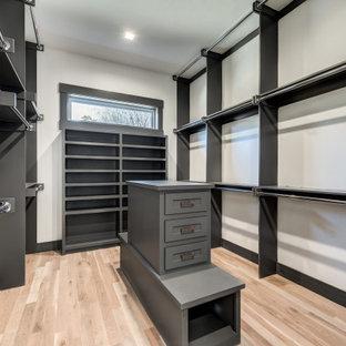 Diseño de armario vestidor unisex, de estilo americano, grande, con armarios con paneles empotrados, puertas de armario grises, suelo de madera clara y suelo marrón