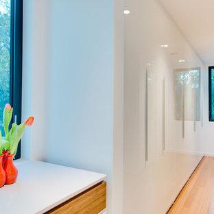 Ispirazione per una cabina armadio unisex minimalista di medie dimensioni con ante lisce, ante bianche e pavimento in bambù