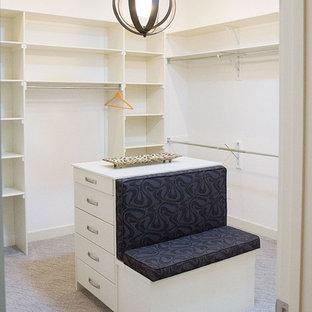 Exemple d'un dressing room tendance de taille moyenne et neutre avec un placard à porte plane, des portes de placard blanches et moquette.