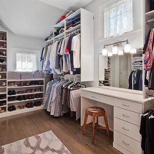 Mid Sized Transitional Gender Neutral Medium Tone Wood Floor Walk In Closet  Photo