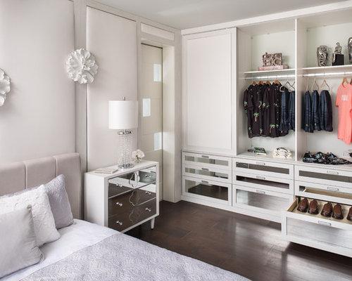 small transitional gender neutral dark wood floor and brown floor reach in closet photo - Reach In Closet Design Ideas