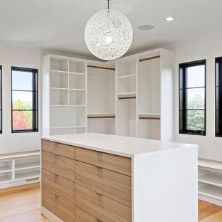 Diseño de armario vestidor unisex, actual, extra grande, con armarios con paneles lisos, puertas de armario blancas, suelo de madera clara y suelo marrón