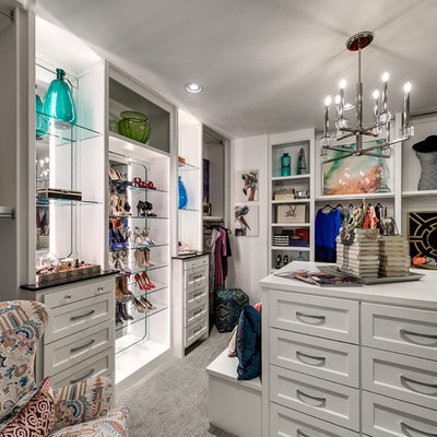 Inspiration for a transitional women's carpeted dressing room remodel in Oklahoma City with white cabinets and recessed-panel cabinets