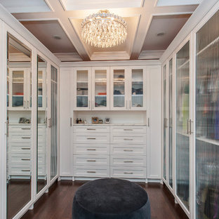 Inspiration For A Contemporary Closet Remodel In Chicago With White Cabinets