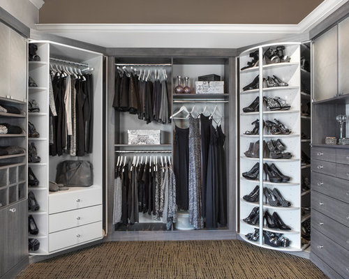 High Quality Example Of A Transitional Gender Neutral Walk In Closet Design In Chicago  With Open