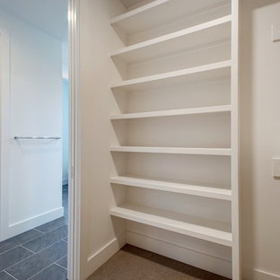 Small midcentury gender-neutral built-in wardrobe in Austin with open cabinets, white cabinets, carpet and beige floor.