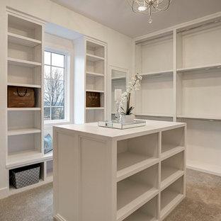 Modelo de armario y vestidor unisex, clásico renovado, de tamaño medio, con armarios con paneles empotrados, puertas de armario blancas, moqueta y suelo beige