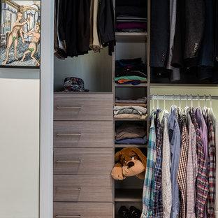 Exemple d'un dressing tendance pour un homme avec un placard à porte plane, des portes de placard grises et moquette.