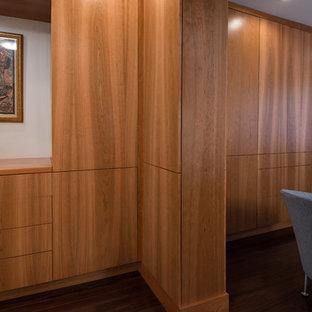 Foto de vestidor unisex, minimalista, grande, con armarios con paneles lisos, puertas de armario de madera clara y suelo de madera oscura
