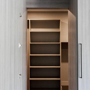 Esempio di uno spazio per vestirsi minimal di medie dimensioni con parquet scuro, pavimento grigio e ante grigie