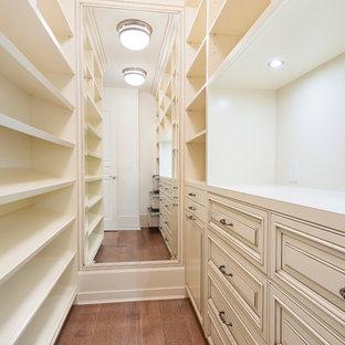 Foto de armario vestidor unisex, clásico, con armarios con paneles con relieve, puertas de armario con efecto envejecido y suelo de madera en tonos medios