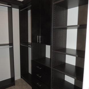 Diseño de armario vestidor unisex, actual, de tamaño medio, con armarios con paneles lisos y puertas de armario con efecto envejecido