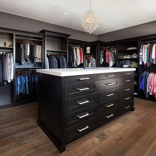 Foto de armario vestidor unisex, tradicional renovado, extra grande, con armarios con paneles empotrados, puertas de armario negras, suelo de madera oscura y suelo marrón