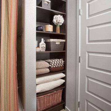 Bathroom Linen Closet with Open Shelving