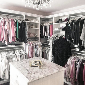 Before and after spare room transformation into a luxurious whole room closet