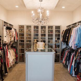 Идея дизайна: гардеробная комната среднего размера в стиле модернизм с стеклянными фасадами, серыми фасадами, ковровым покрытием и коричневым полом для женщин