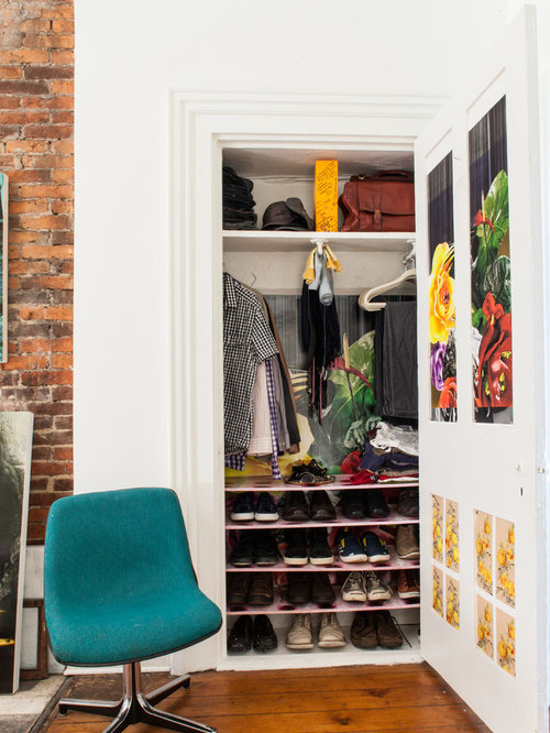 Example Of An Eclectic Reach In Closet Design In Other With Open Cabinets  And White