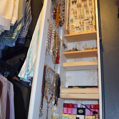 eclectic closet between studs jewelry armoire