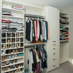 Large elegant gender-neutral carpeted and gray floor walk-in closet photo in Other with open cabinets and white cabinets