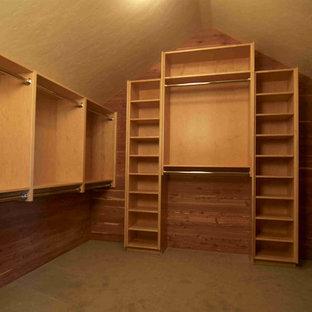 Idee per una grande cabina armadio unisex rustica con nessun'anta, ante marroni e moquette