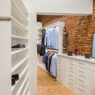 Brick Wall with White Melamine-valet rod, shoes shelves