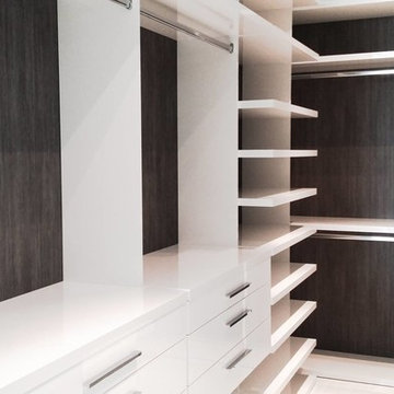Brickell private condo - Custom closet backings with architectural film.
