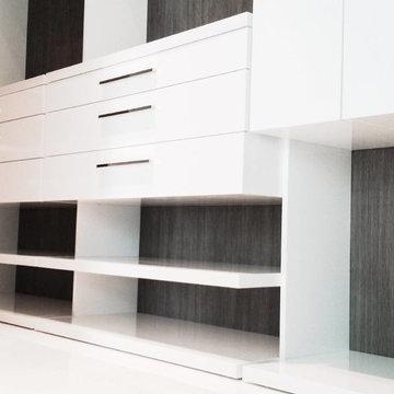 Brickell private condo - Custom closet backings with architectural film.