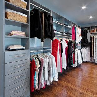 Diseño de armario vestidor unisex, tradicional, grande, con armarios estilo shaker, puertas de armario grises, suelo de madera en tonos medios y suelo marrón