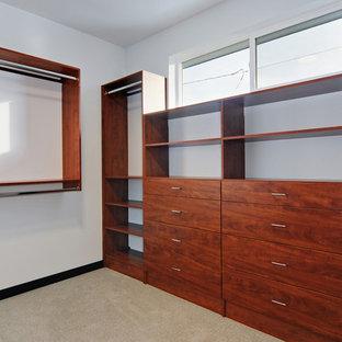 Foto de armario vestidor unisex, minimalista, grande, con armarios con paneles lisos, puertas de armario de madera oscura, moqueta y suelo beige
