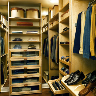Trendy men's walk-in closet photo in Los Angeles with open cabinets and light wood cabinets
