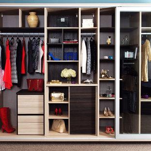Modelo de armario de mujer, contemporáneo, de tamaño medio, con puertas de armario de madera en tonos medios