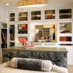 Huge transitional women's carpeted walk-in closet photo in Phoenix with glass-front cabinets and white cabinets