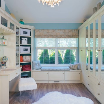 Chic Walk-In Closet And Sitting Room With Almondine Hue